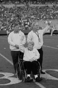 UK Athletics Hall of Fame induction ceremony, Commonwealth Stadium, 2006: David, Alan, and Alyce Sullivan. Courtesy UK Public Relations.